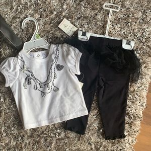 Guess two piece top and tulle leggings set